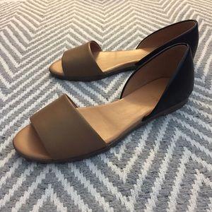 J Crew Factory Morgan Leather Peep-toe Flats
